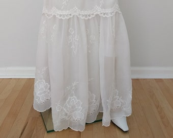 1b3146ba73 Bridal SKIRT - White Sheer Chiffon & Lace Ruffled Skirt, Bridal Skirt,  Bohemian, Boho Skirt, Wedding, Bridesmaid, Size S-XL