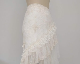 747c88bb7a WRAP SKIRT - Ivory Lace Tulle Wrap Ruffled Skirt, Bridal Skirt, Bohemian,  Boho Skirt, Wedding, Bridesmaid,