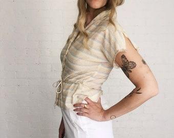 60's/70's metalic knit blouse