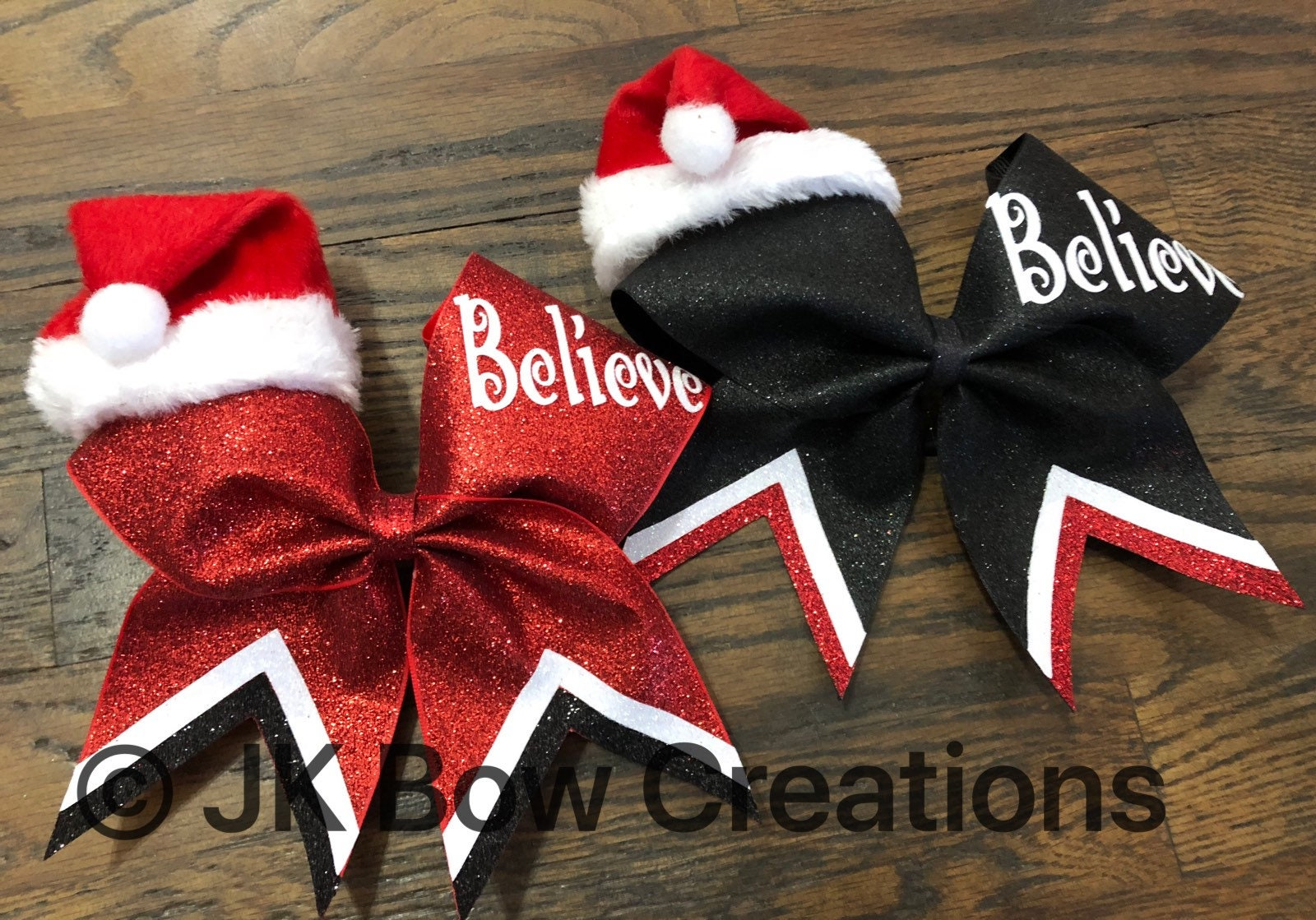 santa hat christmas bow santa bow believe bow christmas cheer bow cheer bows cheerleading gifts christmas cheer gift christmas c