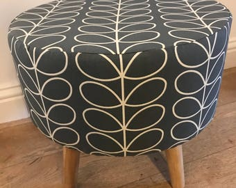 Large Footstool 40x40x40cm made with Orla Kiely Cool Grey Linear Stem Fabric