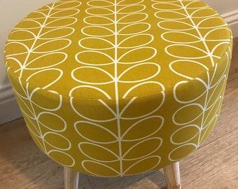 Large Footstool 40x40x40cm made with Orla Kiely Dandelion Linear Stem fabric.