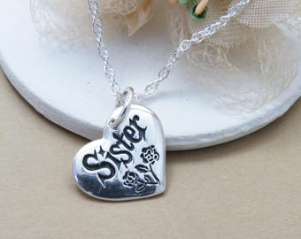 Sister Necklace Heart Gift For Sterling Silver Birthday Her