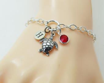 Personalized Sterling Silver Initial Bracelet, Silver Turtle Jewelry, Turtle Charm Bracelet, Sea Jewelry, Turtle Gift, Ocean Jewellery
