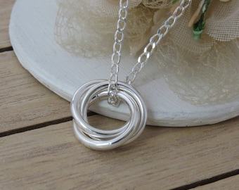 30th Birthday Gift, Sterling Silver Rings Necklace, 3 rings for 3 Decades, Gift for Her
