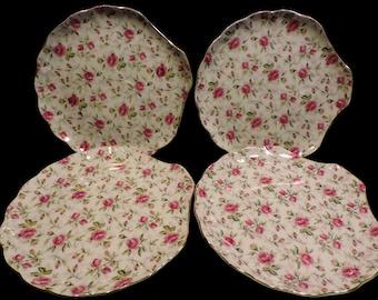 Vintage Hinode China Rose Clamshell Chintz Set Of 4 Snack Plates HTF