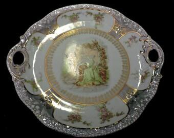 Porzellanfabrik Zeh, Scherzer & Co. (1880 jusqu'en 1910) Bavière gâteau plaque avec poignées
