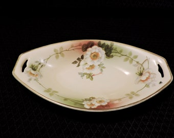 A Beautiful PSAG Bavaria Oval Handled Bowl ~ Hand Painted and Signed By Mauville ~ Produced Between 1898 and 1926
