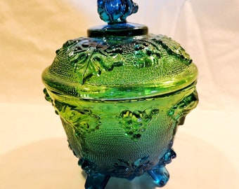 Vintage (1940's) Jeannette Blue and Green Flashed Glass Covered Candy Dish  with Grape & Leaf Pattern