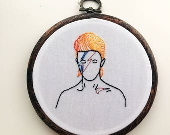David Bowie Aladdin Sane glitter hoop embroidery