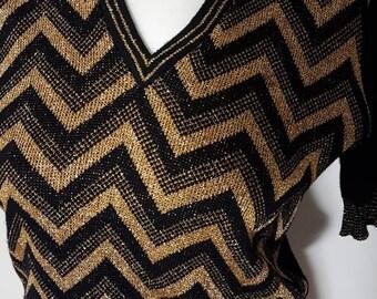 7063a565 vintage 1970s knitted short sleeved Dalkeith jumper