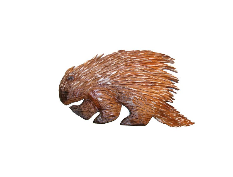 Custom chainsaw carving porcupine z made to order wood carving etsy