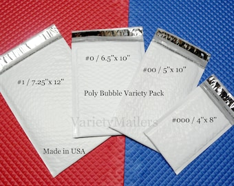 32 Poly Bubble Padded Envelope Mailer Variety ~ 4 Size Assortment ~ Made in USA!   Free Shipping