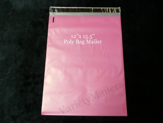 200 12x15.5 Pink Poly MailersSelf Sealing Colored Boutique Shipping Bags