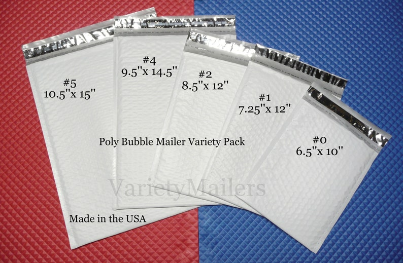 30 Poly Bubble Envelope Combo ~ 15 each #1 7.25x12 /& #0 6.5x10 ~ Free Shipping!
