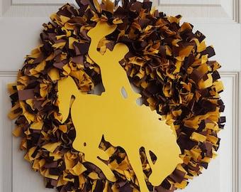 Wyoming Cowboys Tied Wreath