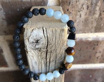 Aquamarine, Tiger Eye Gemstone and Lava Essential Oil Diffuser Bracelet