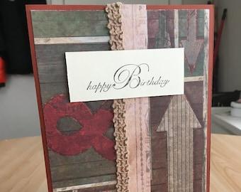 Rustic Happy Birthday Handmade Birthday Card