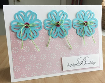 Three Flowers Floral Handmade Birthday Card