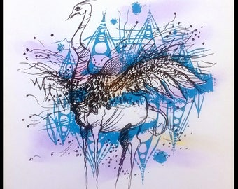 OSTRICH, mix media; serigraphy + pastels,  by DJDJ -George, All Rights Reserved!