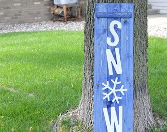 Snow Sign / Winter Decor / Christmas Wooden Decoration / Holiday Sign / Snowflake Sign / Rustic Christmas / Porch Sign / Country Patio Sign