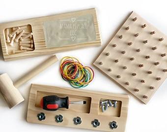 Toddler Gift Box / Montessori Screw Board / Hammer Game / Geoboard / Toddler / Montessori Toy / Toddler Toy