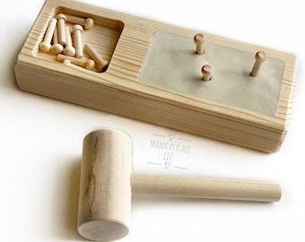 Hammer Game / Montessori / Wooden Toy / Preschool Game / Waldorf Toy / Hammer Peg Game / Toddler Toy / Wooden Board Game