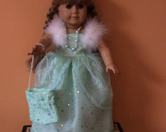 """Handmade to fit American Girl 18"""" doll Green Evening Dress with accessories"""