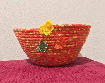 Orange and Yellow Fabric Coil Bowl