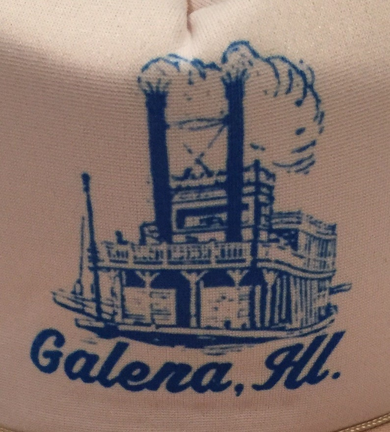 Vintage Early 1980/'s Galena Illinois Trucker Style Mesh Back Snapback Cap with Steamboat Graphic