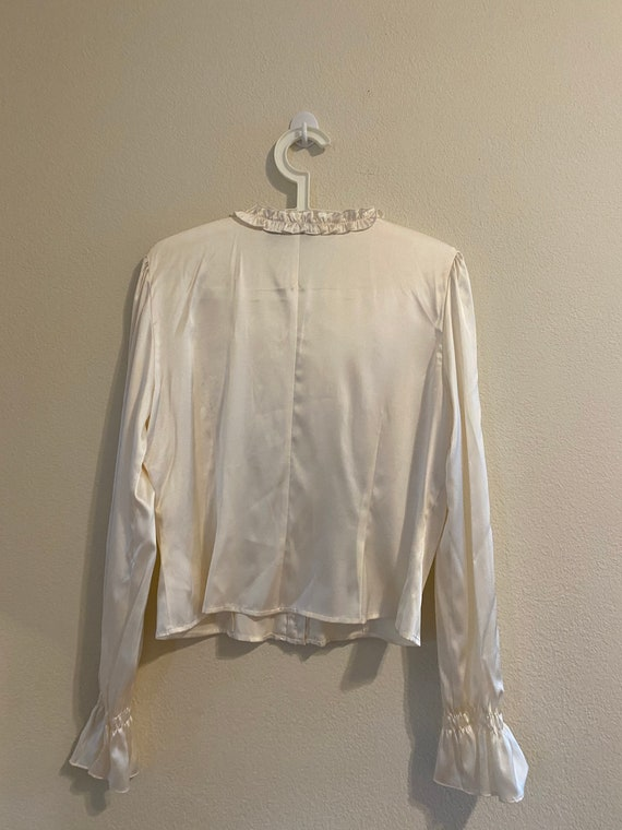 White silk ruffled blouse by INC Size:12 - image 5