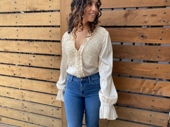 White silk ruffled blouse by INC Size:12 - image 2