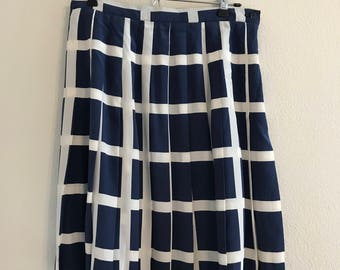Vintage Blue and White Pleated Silk Skirt (100% Silk)