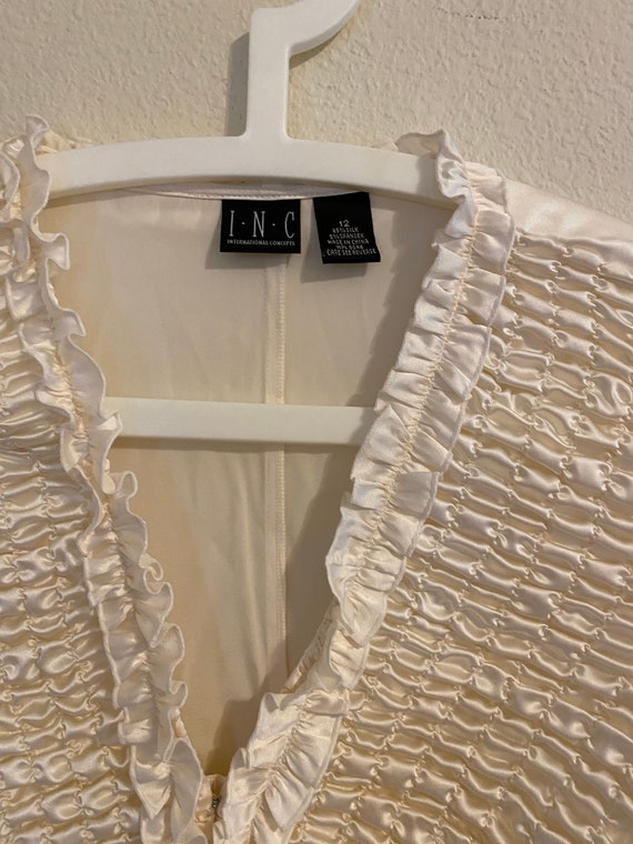 White silk ruffled blouse by INC Size:12 - image 6