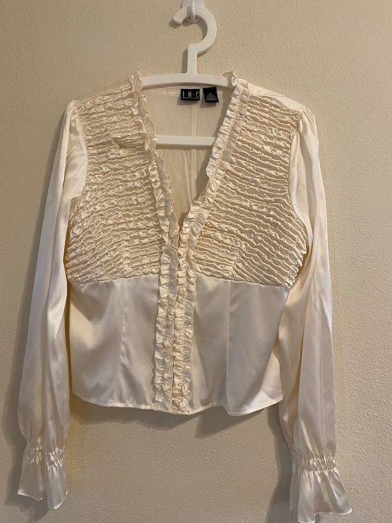 White silk ruffled blouse by INC Size:12 - image 4