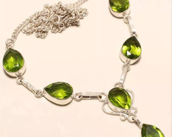 Green Peridot / .925 SP Silver Necklace