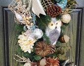 Owl Wreath Owl Teardrop Owls Wreaths Fall Wreaths Wreaths for Front Door Owl Wreaths Wreaths Holiday Wreath Teardrops