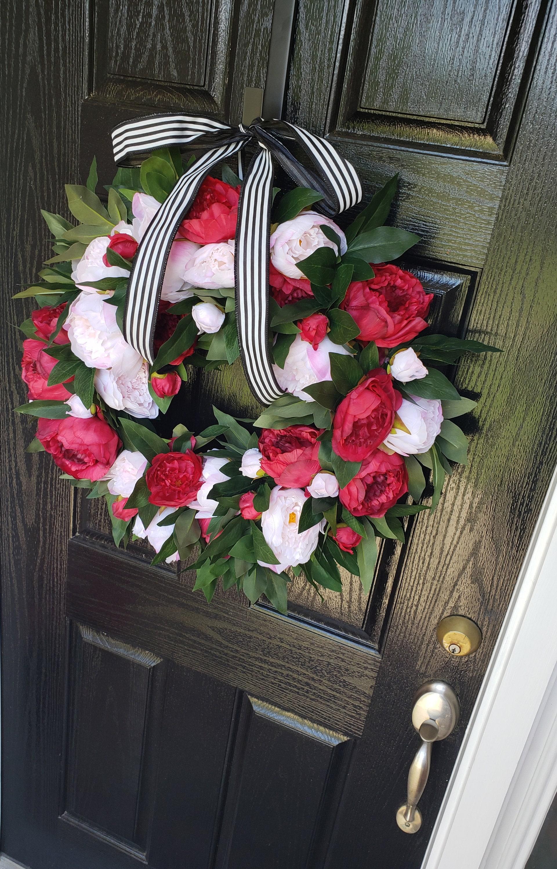 Summer Pink Peony Wreath Summer Red Peony Wreath Front Door Wreaths Summer Wreath For Front Door Pink Peony Wreaths Red Peony Wreaths