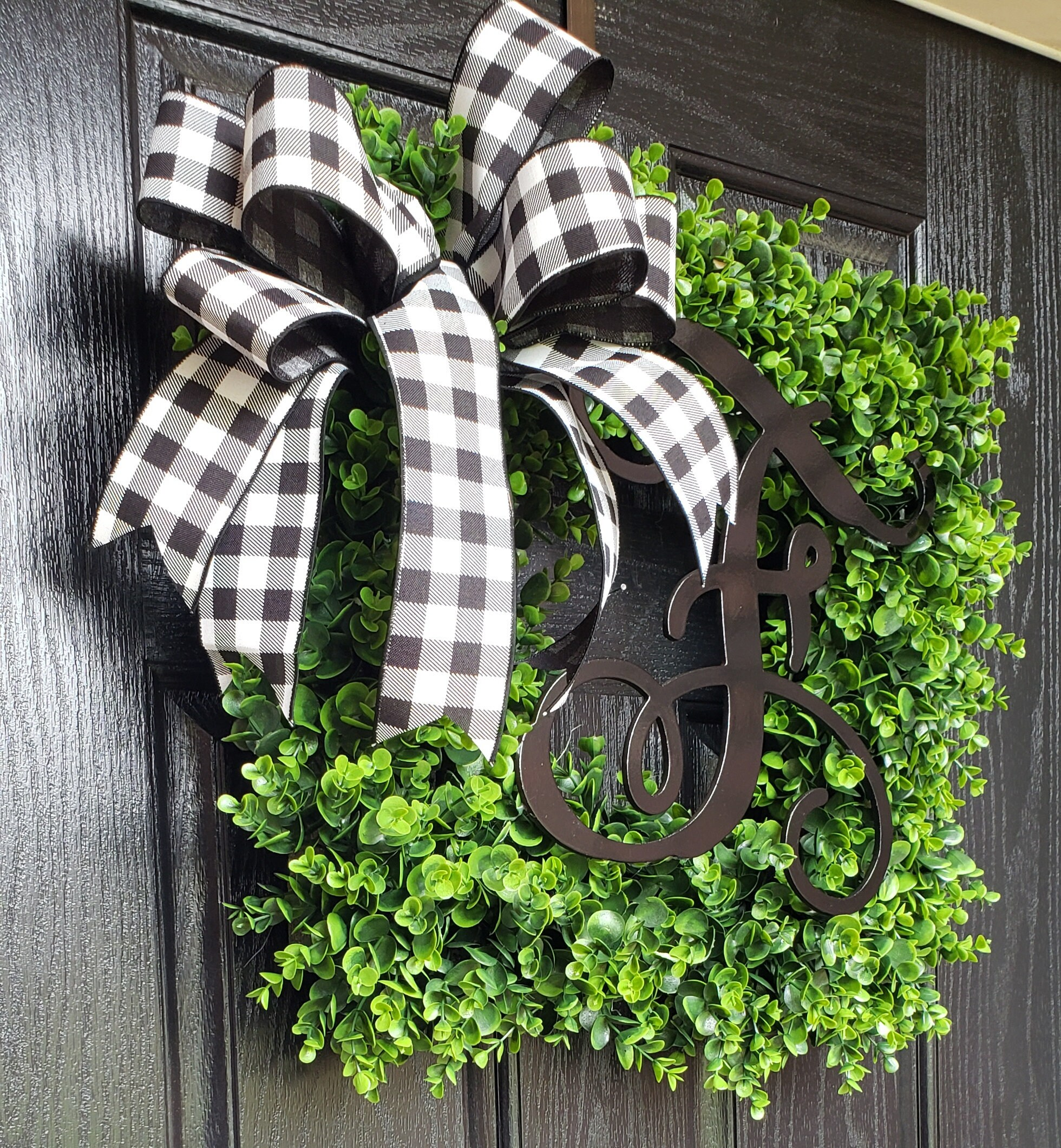 Boxwood Wreath Square Wreath Artificial Boxwood Wreath Monogram Wreath Year Round Wreath Front Door Wreaths Wreath For Front Door
