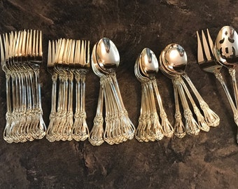 Vintage 53 piece set Gold Plated Stainless Steel, Service for 8, Including Serving Utensils