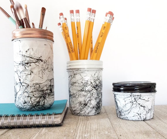 Bocaux set de bureau decor or rose marbre noir blanc etsy