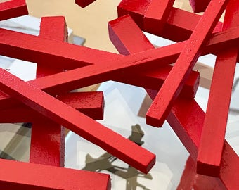 ORS | Original geometric abstract painted wood sculpture in a smaller size.