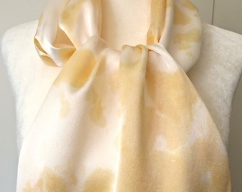 Silk Scarf, Charmeuse Silk, Hand Dyed Pale Orange