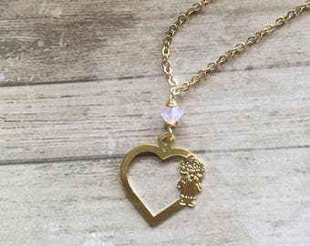 Mom necklace. Girl charm necklace. Little girl pendant. Gold filled necklace. Necklace for Mom of a girl. Proud Mom necklace.