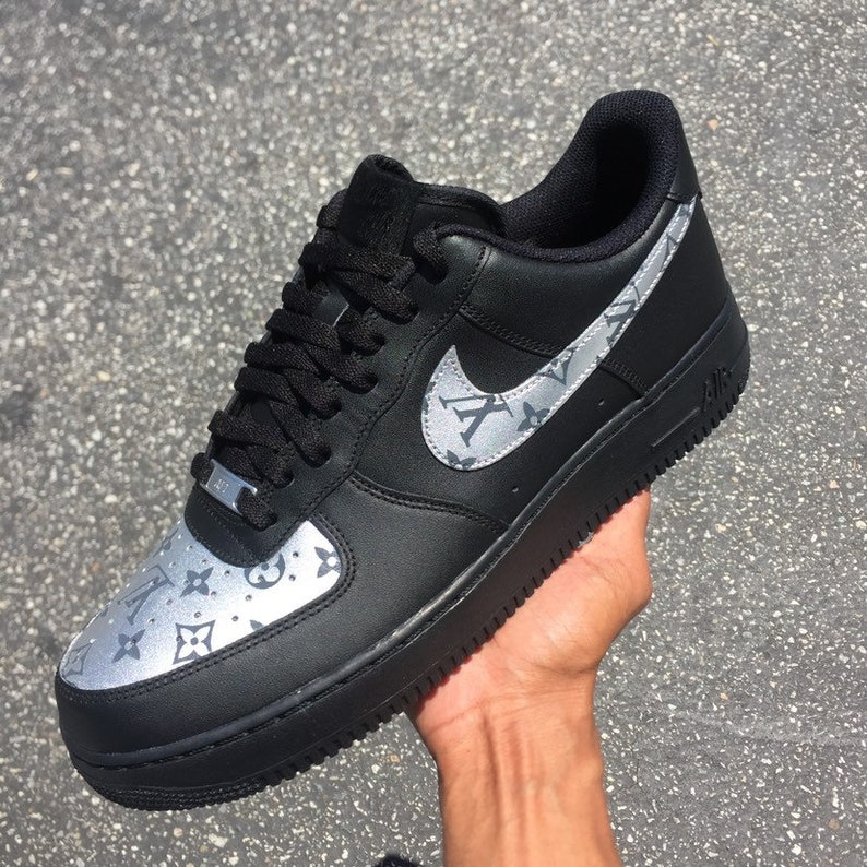009eb1457991 Custom Nike Air Force 1 Silver LV SS18 Monogram Print