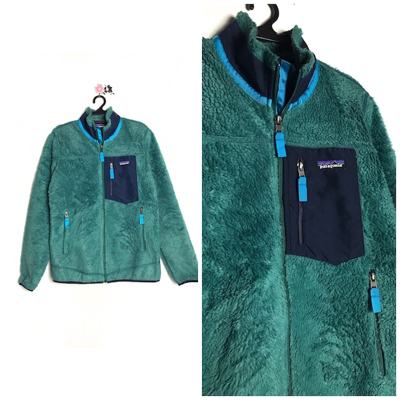 90s vintage PATAGONIA fleece jacket green colour