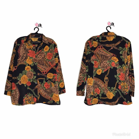 90s vintage baroque shirt like versace silk shirt