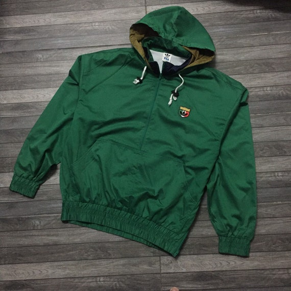 Early 90s vintage Adidas performance jacket half zipper jacket green color 90s hiphop