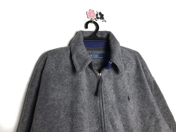 90s vintage POLO RALPH lauren fleece jacket gray c
