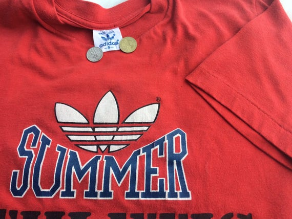 Vintage in Rare Made t adidas t red usa big adidas shirt Mega logo shirt Adidas 80s qx4EwAAWSX